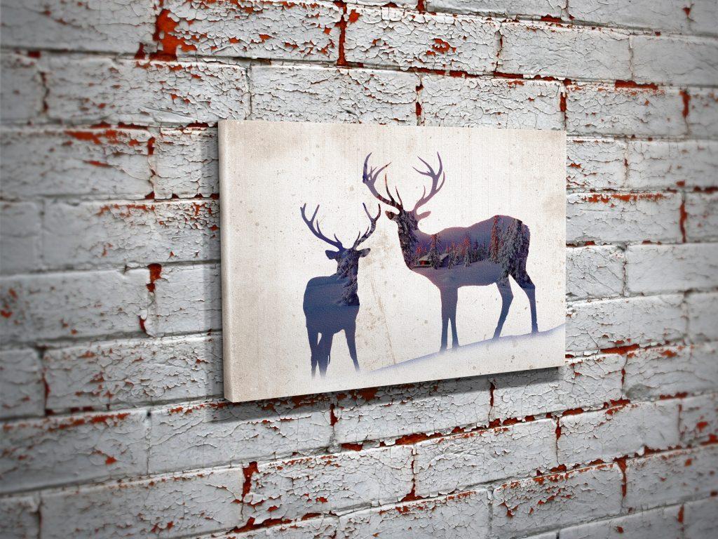 Deer Woods Canvas Double Exposure Wall Art Print Bullzie